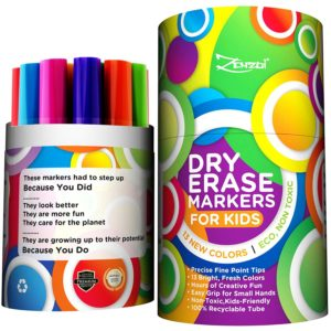 Dry Erase Markers for Kids Whiteboard Erasable Marker Pens Set Fine Tip Point