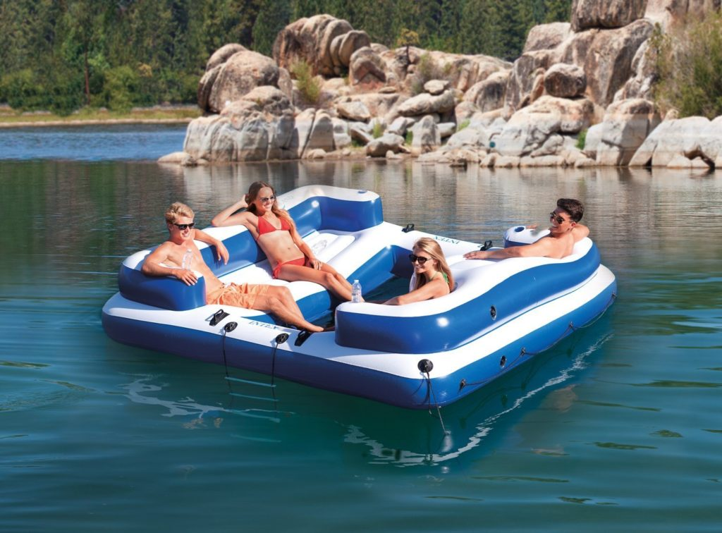 Intex Oasis Island Inflatable 5-Seater Lake/River Floating Lounge Raft
