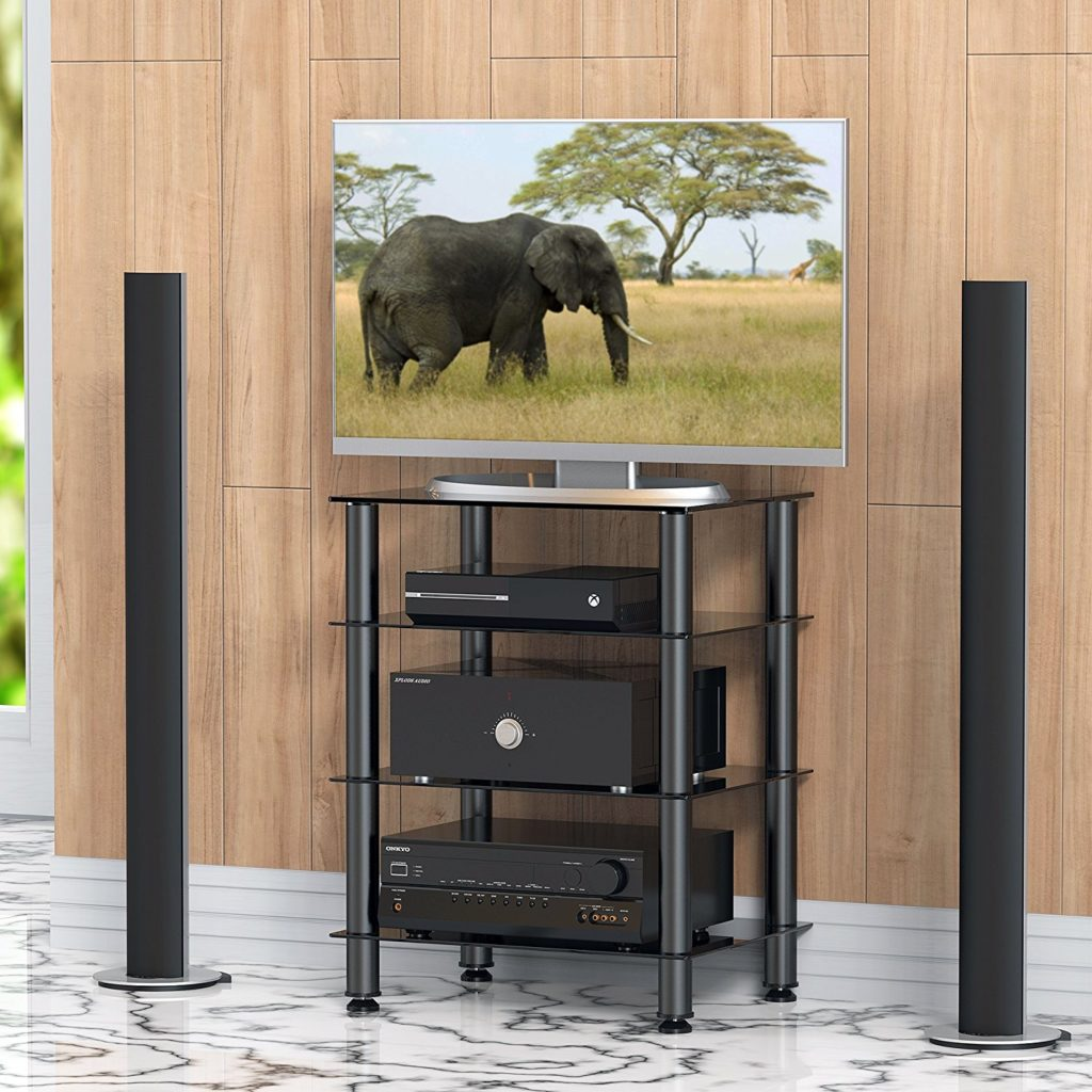 Fitueyes 4-tier Media Stand Audio/Video Component Cabinet with Glass Shelf