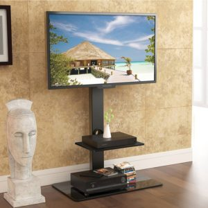Fitueyes TT207001MB Swivel Tall TV Stand and Mount