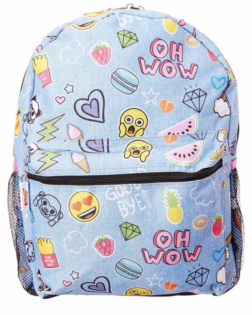 Fab Emoji Denim Sticker Backpack