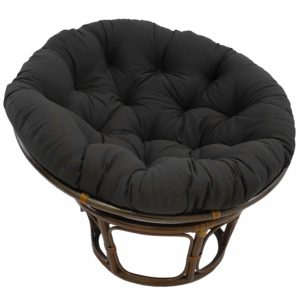 "Blazing Needles Solid Twill Papasan Chair Cushion, 48"" x 6"" x 48"", Black"
