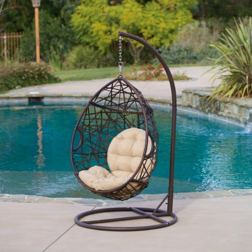 Boho chic style Resin Wicker Kambree Rib Hanging Egg Chair with Cushion and Stand in Driftwood Finish