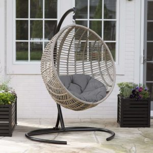 Boho-chic-style Resin Wicker Kambree Rib Hanging Egg Chair with Cushion and Stand in Driftwood Finish