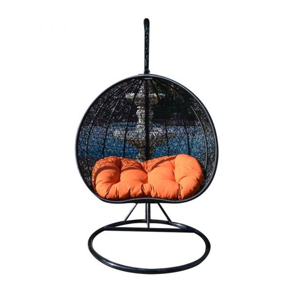 Egg Nest Shaped Wicker Rattan Swing Chair Hanging Hammock 2 Persons Seater - Black / Orange