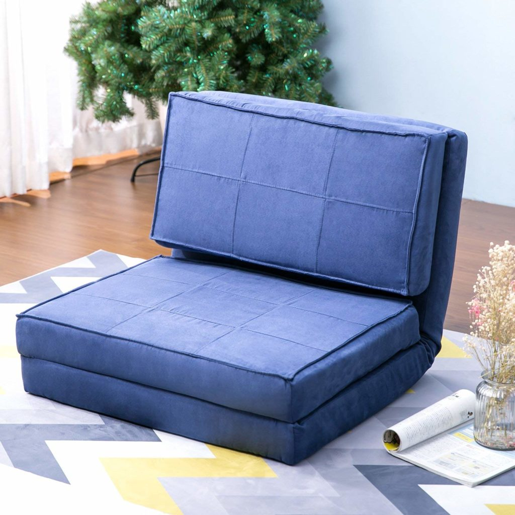 Harper & Bright Designs Convertible Futon Flip Chair Sleeper Bed Couch Sofa Seating Lounger (Blue)
