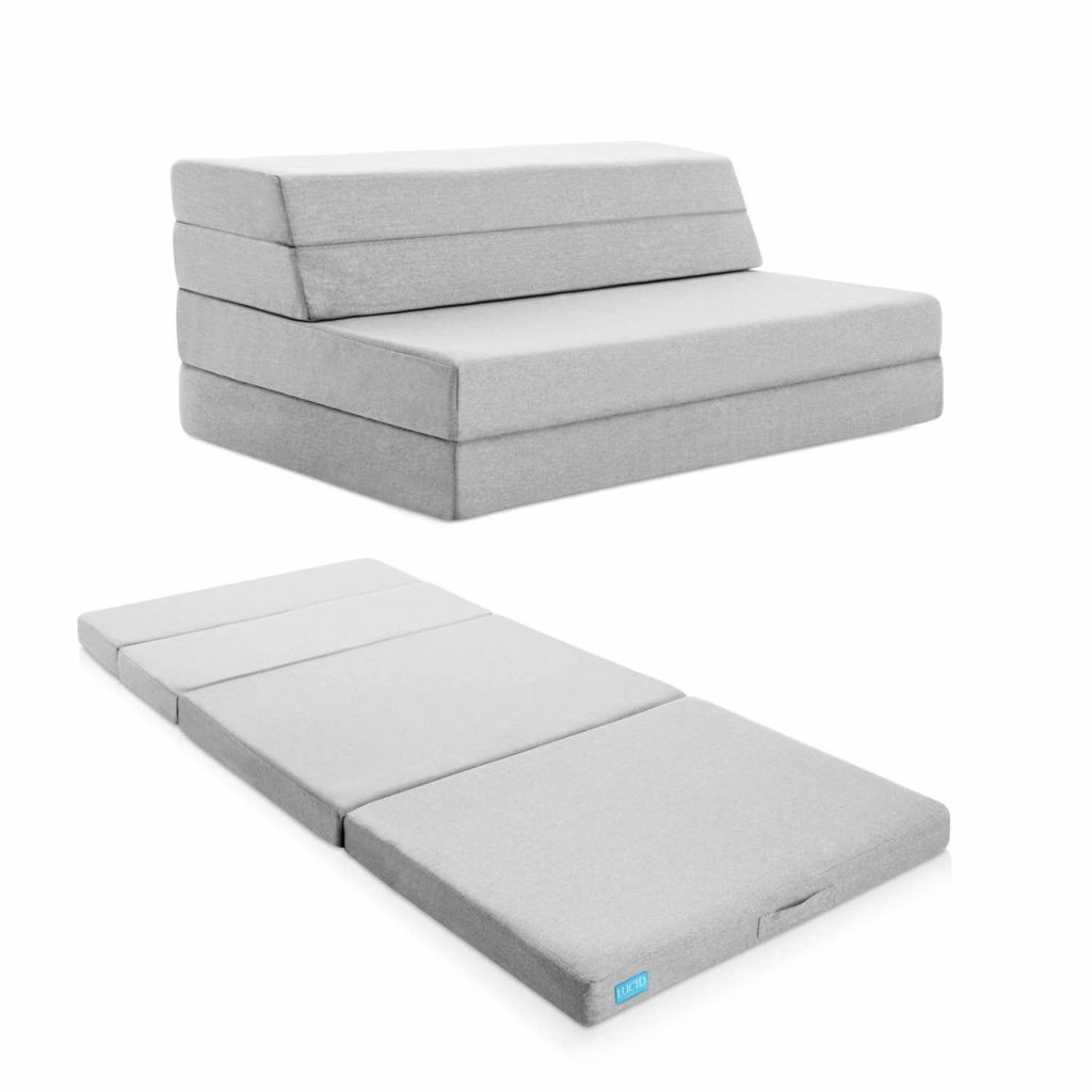 LUCID 4 Inch Folding Mattress and Sofa with Removable Indoor/Outdoor Fabric Cover - Twin Size