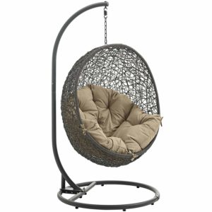 Modway Hide Outdoor Patio Swing Chair, Gray Mocha