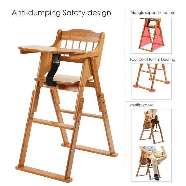 Wooden Folding Baby High Chair