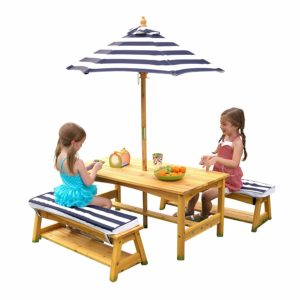 KidKraft Outdoor table and Chair Set with Cushions and Navy Stripes - A Best One of Kids Picnic Tables