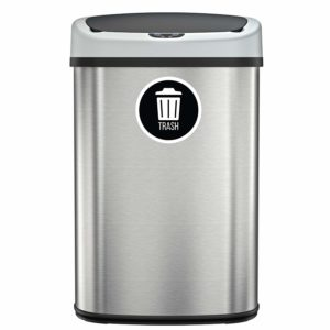SensorCan Automatic Sensor Touchless Trash Can, Stainless Steel, 49 Liter / 13 Gallon, Oval, with 1 Waterproof Reusable TRASH Vinyl Sticker