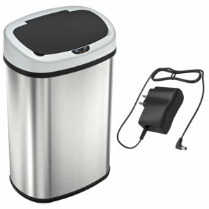 SensorCan Battery-FREE 13 Gallon Automatic Sensor Kitchen Trash Can with Power Adapter - 49 Liter Touchless Stainless Steel Trash Bin