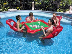 Ancaixin Inflatable Rafts Pool Loungers Floats Mat with Poker and Chips