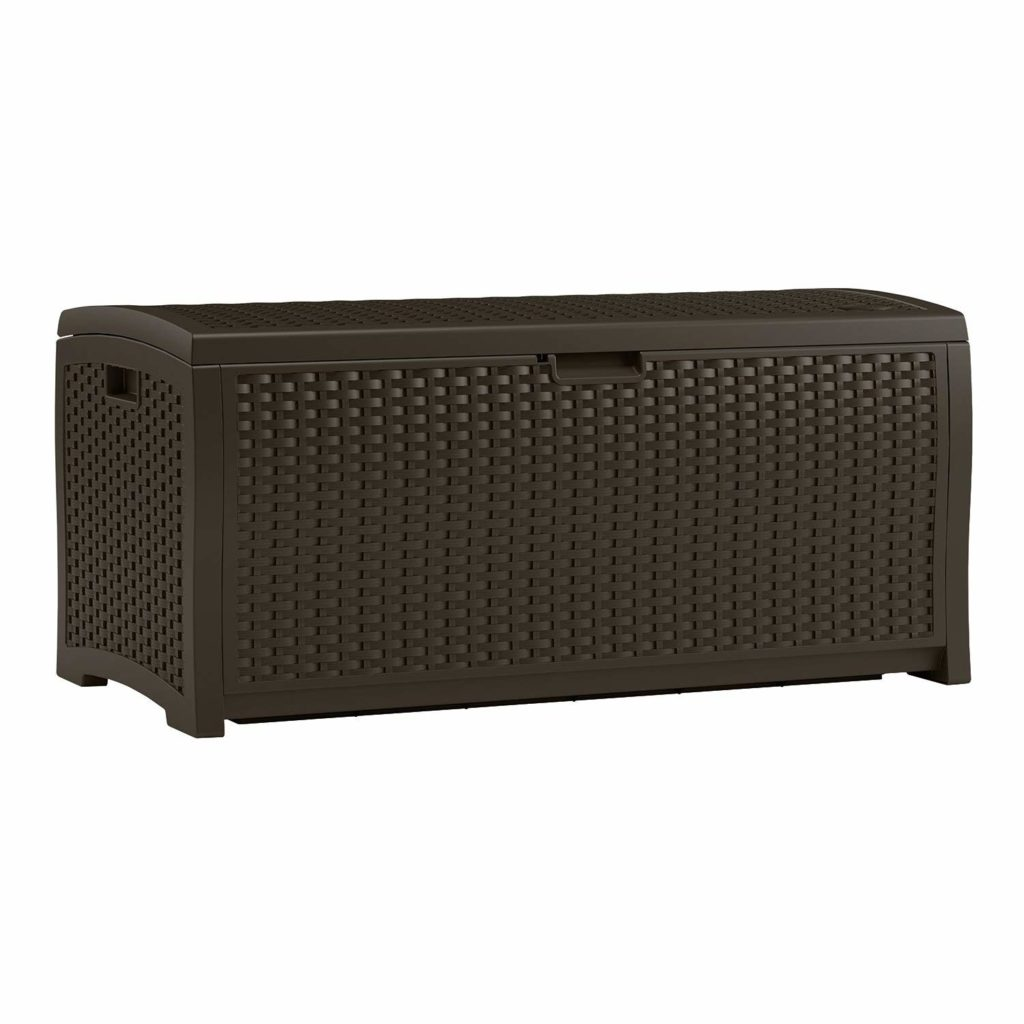 Suncast DBW7300 Mocha Wicker Resin Deck Box