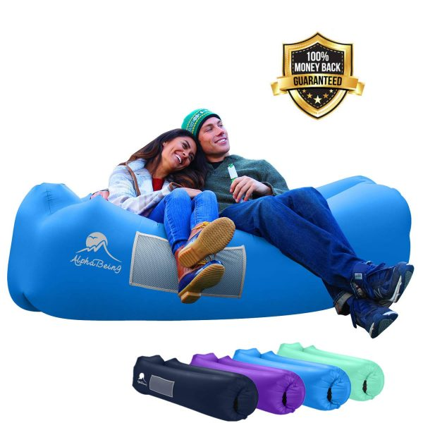 SHENKEY Inflatable Lounger 2020 Portable Waterproof Anti-Air Leaking Couch Air Lazy Sleeping Bag Sofa for Beach Pool Travelling Camping Hiking Party Park Picnic Backyard
