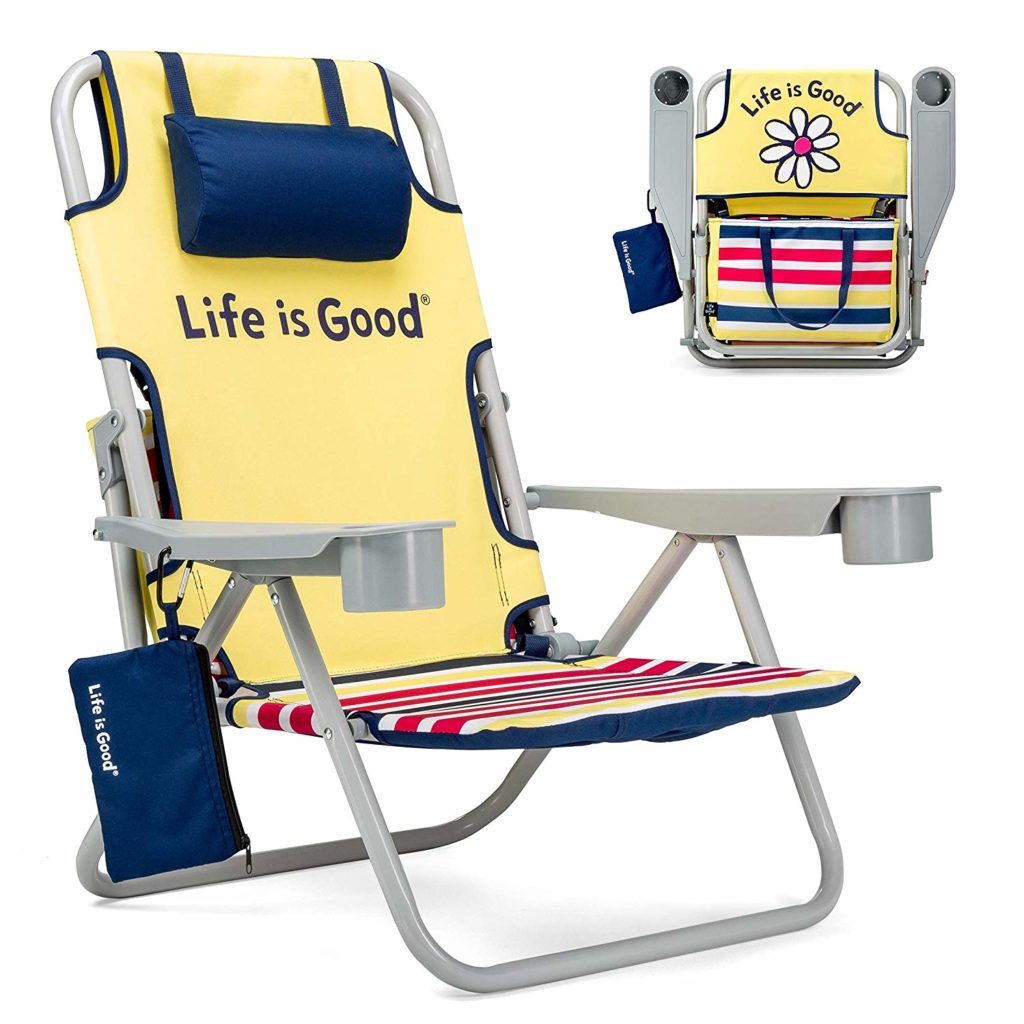 Life is Good Beach Chair with Cooler,