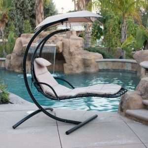 Belleze Hanging Chaise Beige Lounger Chair
