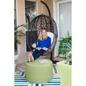 Island Bay one person Resin Wicker Espresso Hanging Egg Chair