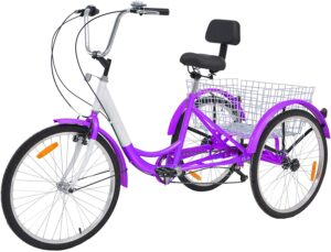 Barbella Adult Tricycle, 24-Inch 7 Speed Three-Wheeled Cruise Bike